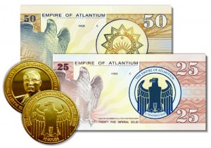 Billets et pièces de monnaie d'Atlantium
